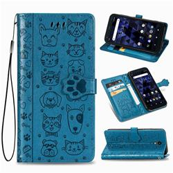 Embossing Dog Paw Kitten and Puppy Leather Wallet Case for Kyocera Digno BX - Blue