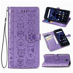 Embossing Dog Paw Kitten and Puppy Leather Wallet Case for Kyocera Digno BX - Purple