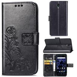 Embossing Imprint Four-Leaf Clover Leather Wallet Case for Kyocera Digno BX - Black