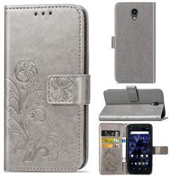 Embossing Imprint Four-Leaf Clover Leather Wallet Case for Kyocera Digno BX - Grey