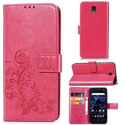 Embossing Imprint Four-Leaf Clover Leather Wallet Case for Kyocera Digno BX - Rose Red
