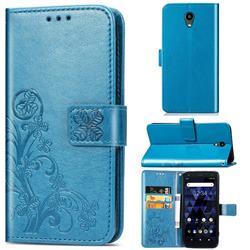 Embossing Imprint Four-Leaf Clover Leather Wallet Case for Kyocera Digno BX - Blue