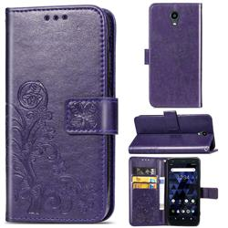 Embossing Imprint Four-Leaf Clover Leather Wallet Case for Kyocera Digno BX - Purple