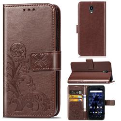 Embossing Imprint Four-Leaf Clover Leather Wallet Case for Kyocera Digno BX - Brown