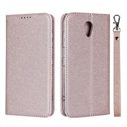 Ultra Slim Magnetic Automatic Suction Silk Lanyard Leather Flip Cover for Kyocera Digno BX 901KC - Rose Gold