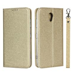 Ultra Slim Magnetic Automatic Suction Silk Lanyard Leather Flip Cover for Kyocera Digno BX 901KC - Golden