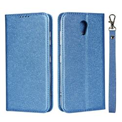Ultra Slim Magnetic Automatic Suction Silk Lanyard Leather Flip Cover for Kyocera Digno BX 901KC - Sky Blue