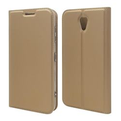 Ultra Slim Card Magnetic Automatic Suction Leather Wallet Case for Kyocera Digno BX 901KC - Champagne