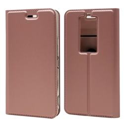 Ultra Slim Card Magnetic Automatic Suction Leather Wallet Case for Kyocera Basio3 KYV43 - Rose Gold