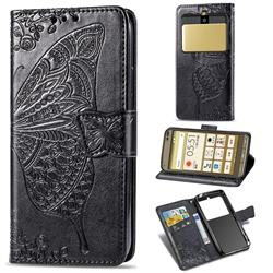 Embossing Mandala Flower Butterfly Leather Wallet Case for Kyocera Basio3 KYV43 - Black