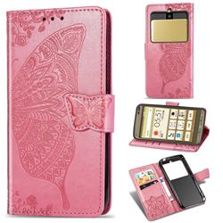 Embossing Mandala Flower Butterfly Leather Wallet Case for Kyocera Basio3 KYV43 - Pink
