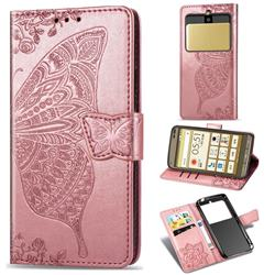 Embossing Mandala Flower Butterfly Leather Wallet Case for Kyocera Basio3 KYV43 - Rose Gold