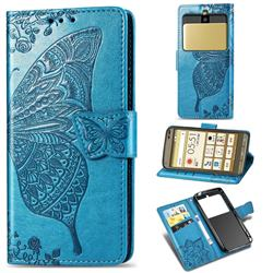 Embossing Mandala Flower Butterfly Leather Wallet Case for Kyocera Basio3 KYV43 - Blue
