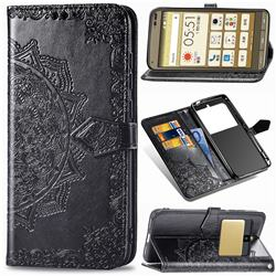Embossing Imprint Mandala Flower Leather Wallet Case for Kyocera Basio3 KYV43 - Black
