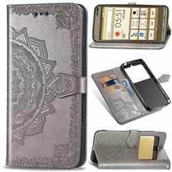 Embossing Imprint Mandala Flower Leather Wallet Case for Kyocera Basio3 KYV43 - Gray