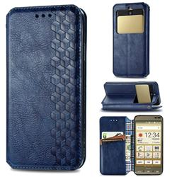 Ultra Slim Fashion Business Card Magnetic Automatic Suction Leather Flip Cover for Kyocera Basio3 KYV43 - Dark Blue