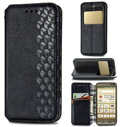 Ultra Slim Fashion Business Card Magnetic Automatic Suction Leather Flip Cover for Kyocera Basio3 KYV43 - Black