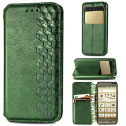 Ultra Slim Fashion Business Card Magnetic Automatic Suction Leather Flip Cover for Kyocera Basio3 KYV43 - Green