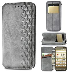 Ultra Slim Fashion Business Card Magnetic Automatic Suction Leather Flip Cover for Kyocera Basio3 KYV43 - Grey