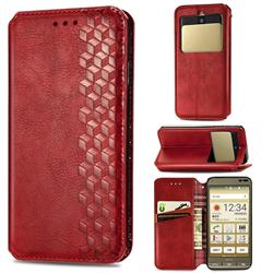 Ultra Slim Fashion Business Card Magnetic Automatic Suction Leather Flip Cover for Kyocera Basio3 KYV43 - Red