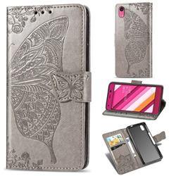 Embossing Mandala Flower Butterfly Leather Wallet Case for Kyocera Qua phone QZ KYV44 - Gray