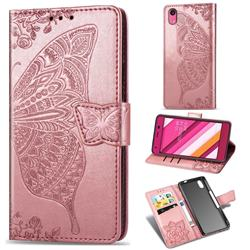 Embossing Mandala Flower Butterfly Leather Wallet Case for Kyocera Qua phone QZ KYV44 - Rose Gold