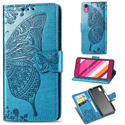 Embossing Mandala Flower Butterfly Leather Wallet Case for Kyocera Qua phone QZ KYV44 - Blue