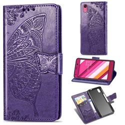 Embossing Mandala Flower Butterfly Leather Wallet Case for Kyocera Qua phone QZ KYV44 - Dark Purple