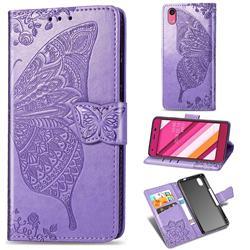 Embossing Mandala Flower Butterfly Leather Wallet Case for Kyocera Qua phone QZ KYV44 - Light Purple