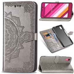 Embossing Imprint Mandala Flower Leather Wallet Case for Kyocera Qua phone QZ KYV44 - Gray