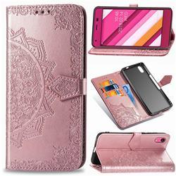 Embossing Imprint Mandala Flower Leather Wallet Case for Kyocera Qua phone QZ KYV44 - Rose Gold