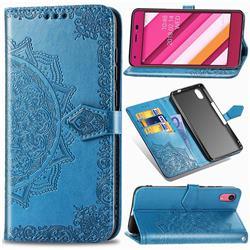 Embossing Imprint Mandala Flower Leather Wallet Case for Kyocera Qua phone QZ KYV44 - Blue