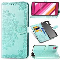 Embossing Imprint Mandala Flower Leather Wallet Case for Kyocera Qua phone QZ KYV44 - Green