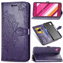 Embossing Imprint Mandala Flower Leather Wallet Case for Kyocera Qua phone QZ KYV44 - Purple