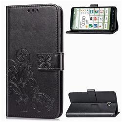 Embossing Imprint Four-Leaf Clover Leather Wallet Case for Kyocera BASIO4 KYV47 - Black