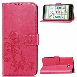 Embossing Imprint Four-Leaf Clover Leather Wallet Case for Kyocera BASIO4 KYV47 - Rose