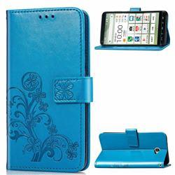 Embossing Imprint Four-Leaf Clover Leather Wallet Case for Kyocera BASIO4 KYV47 - Blue