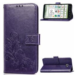 Embossing Imprint Four-Leaf Clover Leather Wallet Case for Kyocera BASIO4 KYV47 - Purple