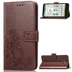 Embossing Imprint Four-Leaf Clover Leather Wallet Case for Kyocera BASIO4 KYV47 - Brown
