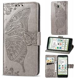 Embossing Mandala Flower Butterfly Leather Wallet Case for Kyocera BASIO4 KYV47 - Gray