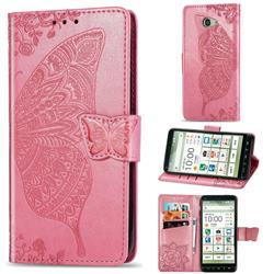 Embossing Mandala Flower Butterfly Leather Wallet Case for Kyocera BASIO4 KYV47 - Pink