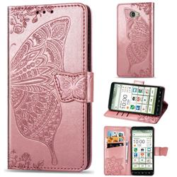 Embossing Mandala Flower Butterfly Leather Wallet Case for Kyocera BASIO4 KYV47 - Rose Gold