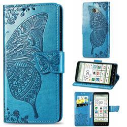 Embossing Mandala Flower Butterfly Leather Wallet Case for Kyocera BASIO4 KYV47 - Blue