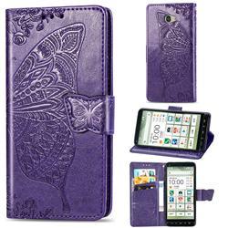 Embossing Mandala Flower Butterfly Leather Wallet Case for Kyocera BASIO4 KYV47 - Dark Purple