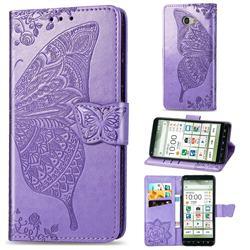 Embossing Mandala Flower Butterfly Leather Wallet Case for Kyocera BASIO4 KYV47 - Light Purple