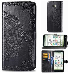 Embossing Imprint Mandala Flower Leather Wallet Case for Kyocera BASIO4 KYV47 - Black