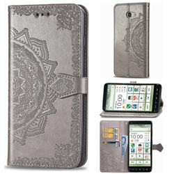 Embossing Imprint Mandala Flower Leather Wallet Case for Kyocera BASIO4 KYV47 - Gray
