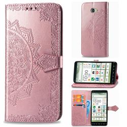 Embossing Imprint Mandala Flower Leather Wallet Case for Kyocera BASIO4 KYV47 - Rose Gold