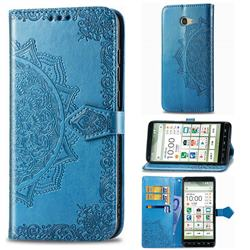 Embossing Imprint Mandala Flower Leather Wallet Case for Kyocera BASIO4 KYV47 - Blue
