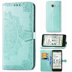 Embossing Imprint Mandala Flower Leather Wallet Case for Kyocera BASIO4 KYV47 - Green